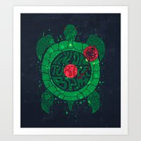 paramore Art Prints featuring On Turtle BPM by Sitchko Igor