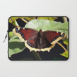 Mourning Cloak Butterfly at Rest on a Rose Leaf Laptop Sleeve