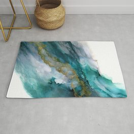 Wild Rush - abstract ocean theme in teal gray gold, marble pattern Rug