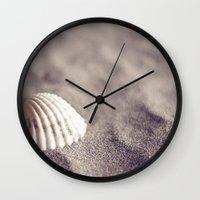 seashell Wall Clocks featuring Seashell by Dena Brender Photography