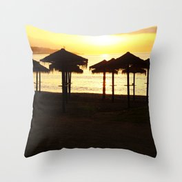 Malaga beach sunset Throw Pillow
