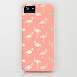 Gold Flamingo Pattern Coral Pink iPhone Case