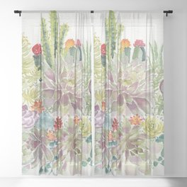 Succulents Sheer Curtain