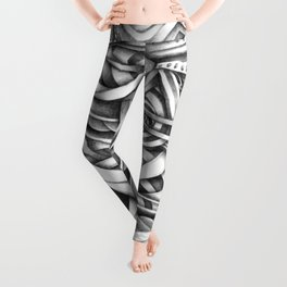 Escher Like Abstract Hand Drawn Graphite Gray Depth Leggings