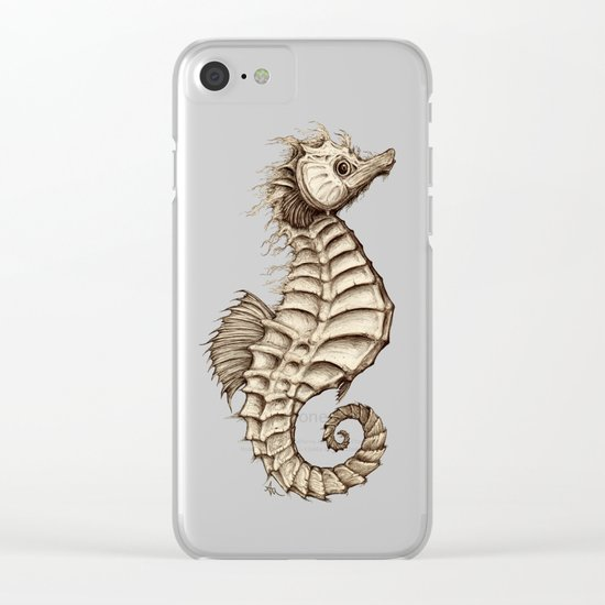 """""""Fantasy Seahorse"""" by Amber Marine ~ (Vintage) ~ Ink Illustration, (c) 2016 Clear iPhone Case"""