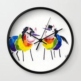 Little Rainbow Unicorns Wall Clock