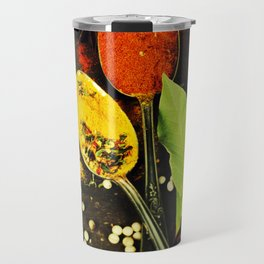Bright spices on an old  wooden board Travel Mug