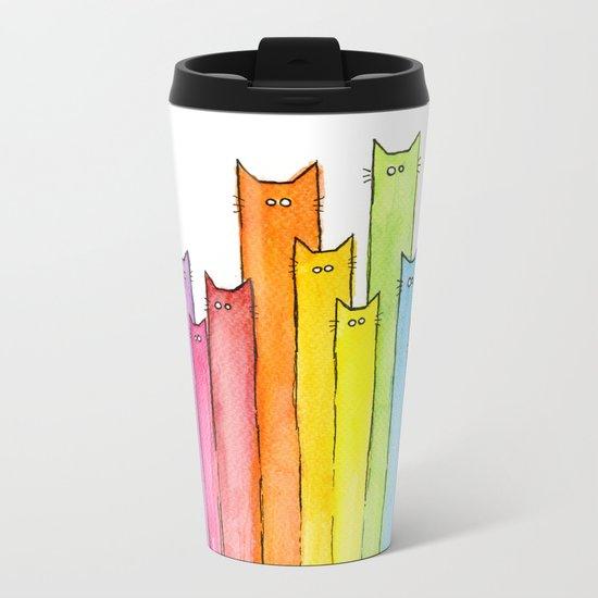 Cat Rainbow Watercolor Whimsical Animals Cats Pattern Metal Travel Mug