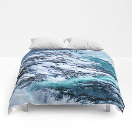 Gulfoss Waterfall Iceland Comforters