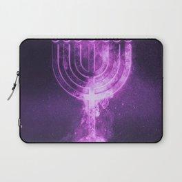 Hanukkah menorah symbol. Menorah symbol of Judaism. Abstract night sky background. Laptop Sleeve