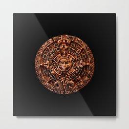 Ancient Mayan Sun Calendar Metal Print