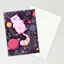 Cat in space Stationery Cards