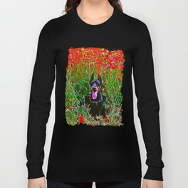 doberman dog red flowers meadow vector art Long Sleeve T-shirt