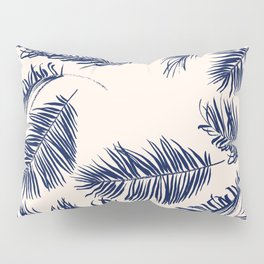 Blue Palm Leaves Pattern Pillow Sham