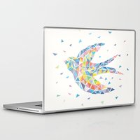 swallow Laptop & iPad Skins featuring Triangled Swallow  by XOOXOO