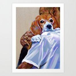 A man carries a cute beagle. Art Print