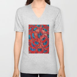 Red and Blue Flower Pattern Unisex V-Neck