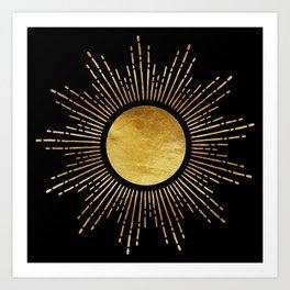 Golden Sunburst Starburst Noir Art Print