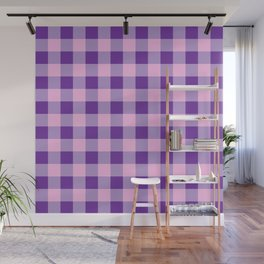 Purple and Pink Check Wall Mural