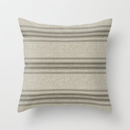 Vintage Farmhouse Rustic Linen Grain Sack - Beige Horizontal Throw Pillow