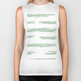 Swipe Stripe Pastel Cactus Green and White Biker Tank
