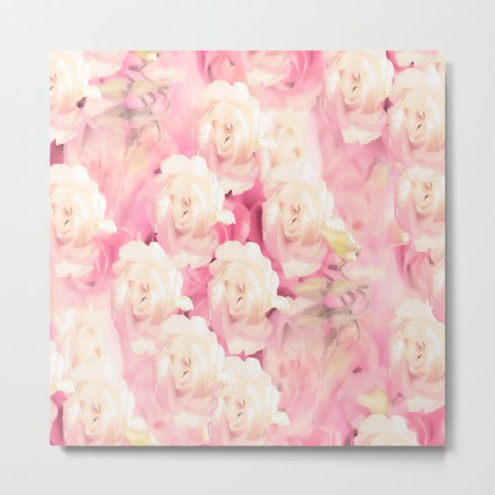 White and pink flowers in summer romance - vintage style Metal Print