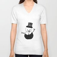snowman V-neck T-shirts featuring Snowman by Teaspoon Of Me