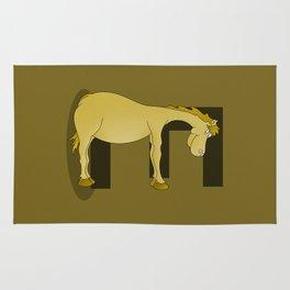 Pony Monogram Letter E Rug