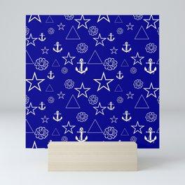 Stars and Anchors - Navy Mini Art Print
