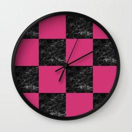 Elegant black marble & hot pink checkered Wall Clock