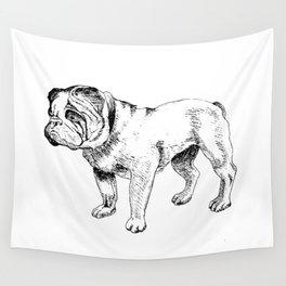 Bulldog Ink Drawing Wall Tapestry