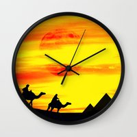 egyptian Wall Clocks featuring Egyptian supermoon by pinopics