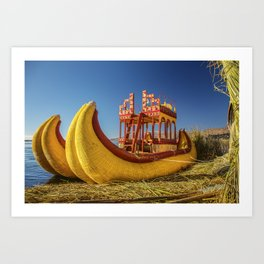 Reed boat on Floating Island of Uros Art Print