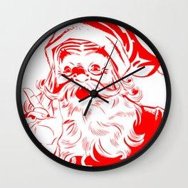 Red Old School Santa (Color) Wall Clock