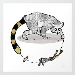 Ring Tailed Lemur, Frog & Fly, Funny Animal Illustration, Black and White Cute Lemur Graphic Design Art Print