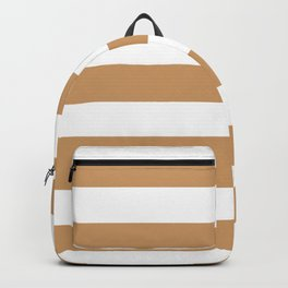 Brown Yellow -  solid color - white stripes pattern Backpack