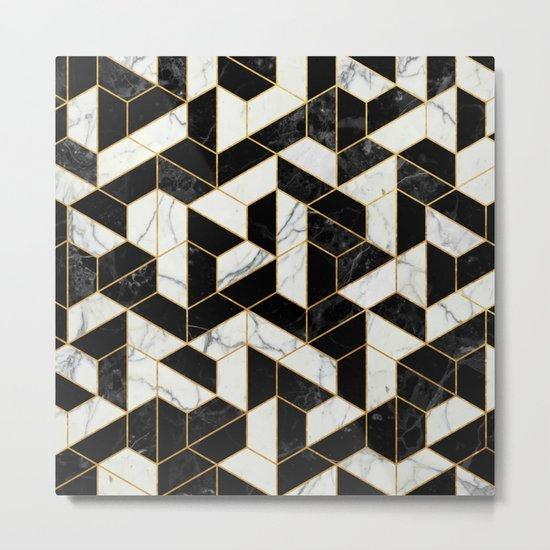 Black and White Marble Hexagonal Pattern Metal Print