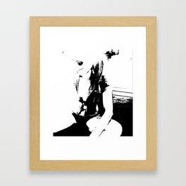 Black and white Girl Framed Art Print