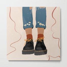 Fall Flower boots Metal Print