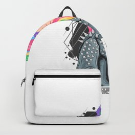 Girl Unicorn Full Colour Hair With Rocker Jacket Punker Style Backpack