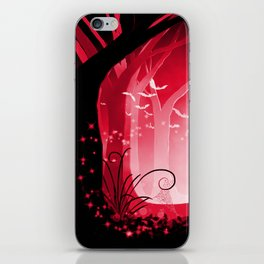 Dark Forest at Dawn in Ruby iPhone Skin