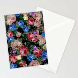 Floral pattern, blue roses,lisianthus.Black background  Stationery Cards