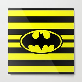 Bat Man Classic Stripes Metal Print