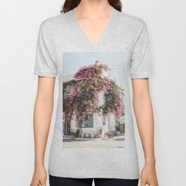 White House In Greece With Pink Flowers Photo | Greek Island Art Print | Europe Travel Photography Unisex V-Neck