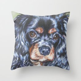 Beautiful black and tan Cavalier King Charles Spaniel Dog Painting by L.A.Shepard Throw Pillow