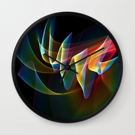 Northern Lights, Abstract Fractal Rainbow Aurora Wall Clock