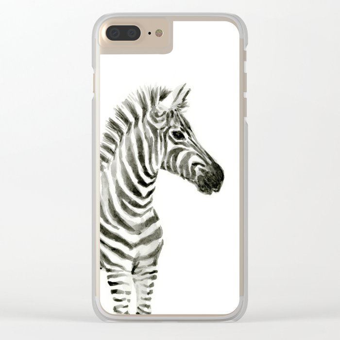 Zebra Watercolor Baby Animals Clear iPhone Case