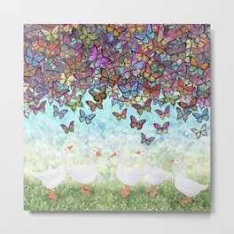 butterfly cascade and white geese Metal Print