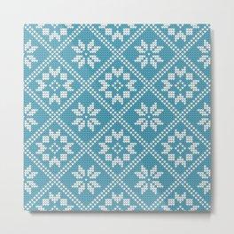 Blue Knitted Winter Pattern Metal Print