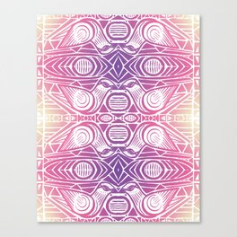 Birds Kissing, Tribal Pattern, Sunset Canvas Print